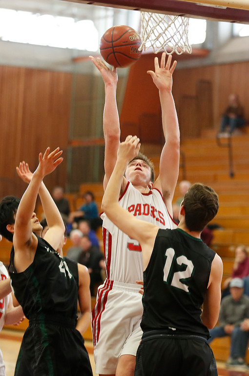 . Carmel\'s JT Byrne shoots against Harker  during CCS playoff basketball at Hartnell College in Salinas, Calif. on Saturday February 24, 2018. (David Royal/Herald Correspondent)