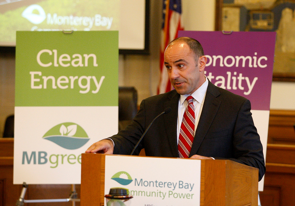 """. Jimmy Panetta, Congressman 20th District of California, speaks at a press conference on Monterey Bay Community Power\'s \""""first day of electric service\"""" in Monterey on Thursday, March 1, 2018.  (Vern Fisher - Monterey Herald)"""