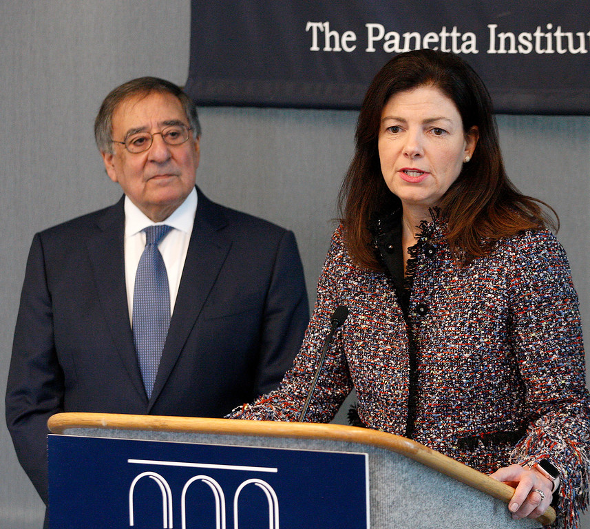 . Leon Panetta listens to former U.S. Senator from New Hampshire Kelly Ayotte speak at the Panetta Lecture Series in Monterey on Monday, Feb. 26, 2018.  (Vern Fisher - Monterey Herald)