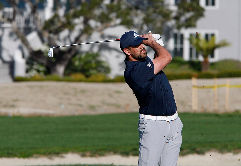 . Aaron Rodgers from the Green Bay Packers on the second hole at the Pebble Beach Golf Links during the third round of the AT&T Pebble Beach Pro-Am on Saturday, Feb. 10, 2018.  (Vern Fisher - Monterey Herald)