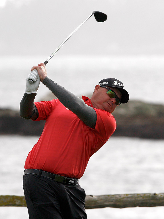 . Ted Potter Jr. tees off from the 18th hole at the Pebble Beach Golf Links during the final round of the AT&T Pebble Beach Pro-Am on Sunday, Feb. 11, 2018.  Potter went on to win the tournament by three strokes with a -17.  (Vern Fisher - Monterey Herald)