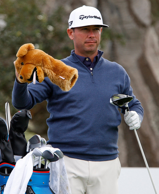 . Chez Reavie prepares to tee off from the 13th hole at the Pebble Beach Golf Links during the final round of the AT&T Pebble Beach Pro-Am on Sunday, Feb. 11, 2018.  (Vern Fisher - Monterey Herald)