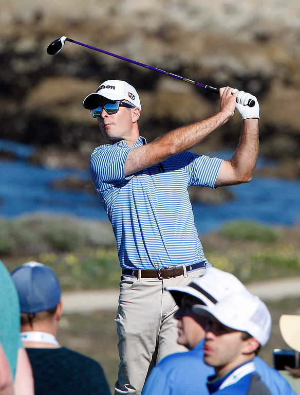 . Kevin Streelman tees off on the 13th hole at Monterey Peninsula Country Club Shore Course during the second round of the AT&T Pebble Beach Pro-Am on Friday, Feb. 9, 2018.  (Vern Fisher - Monterey Herald)