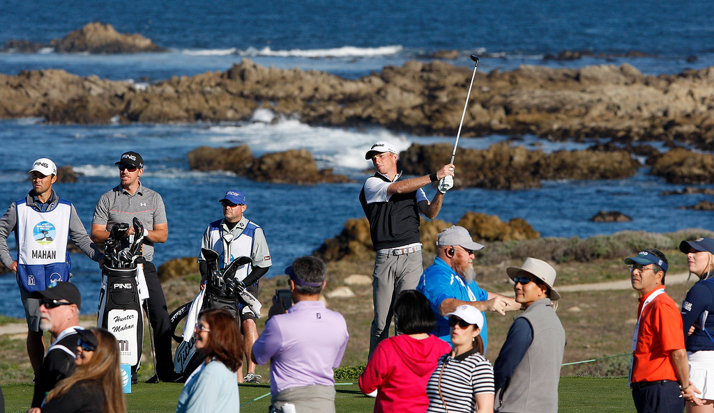 . Will Zalatoris tees off on the 13th hole at Monterey Peninsula Country Club Shore Course during the second round of the AT&T Pebble Beach Pro-Am on Friday, Feb. 9, 2018.  (Vern Fisher - Monterey Herald)