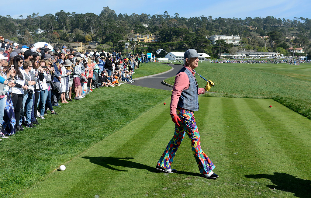 . Bill Murray on the 8th hole tee box hole at the Pebble Beach Golf Links during the third round of the AT&T Pebble Beach Pro-Am on Saturday, Feb. 10, 2018.  (Vern Fisher - Monterey Herald)
