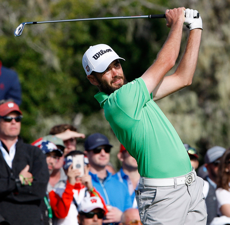 . Troy Merritt watches his tee shot from the 17th hole at the Pebble Beach Golf Links during the final round of the AT&T Pebble Beach Pro-Am on Sunday, Feb. 11, 2018.  (Vern Fisher - Monterey Herald)