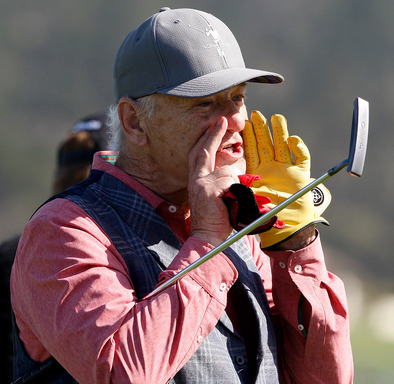 . Bill Murray on the 6th hole at the Pebble Beach Golf Links during the third round of the AT&T Pebble Beach Pro-Am on Saturday, Feb. 10, 2018.  (Vern Fisher - Monterey Herald)