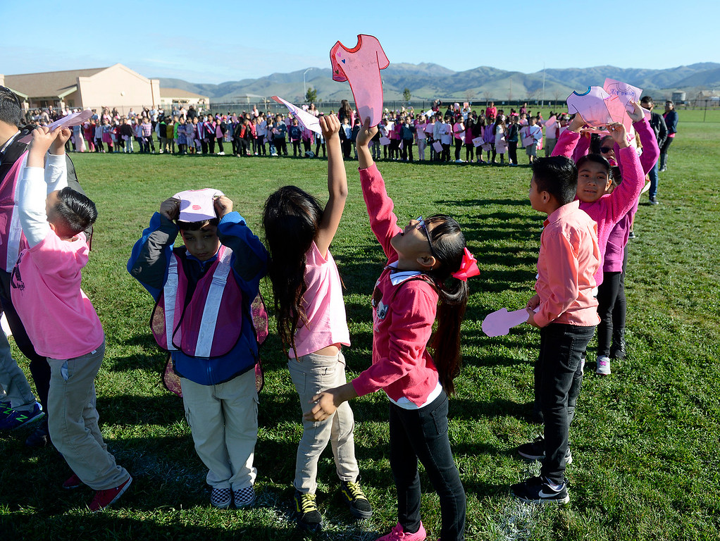 . Monte Bella Elementary School students were wearing pink and spelling the word RESPETO on the ground so it can be captured by a flying drone on Wednesday, Feb. 14, 2018.   The event and photo is  part of the school\'s ongoing anti-bullying activities.  (Vern Fisher - Monterey Herald)