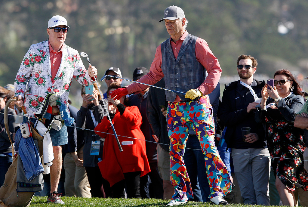 . Bill Murray with his caddy Andrew Whitaker on the 6th hole at the Pebble Beach Golf Links during the third round of the AT&T Pebble Beach Pro-Am on Saturday, Feb. 10, 2018.  (Vern Fisher - Monterey Herald)