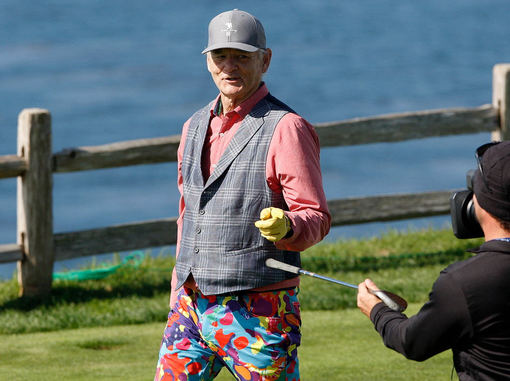 . Bill Murray on the 7th hole at the Pebble Beach Golf Links during the third round of the AT&T Pebble Beach Pro-Am on Saturday, Feb. 10, 2018.  (Vern Fisher - Monterey Herald)