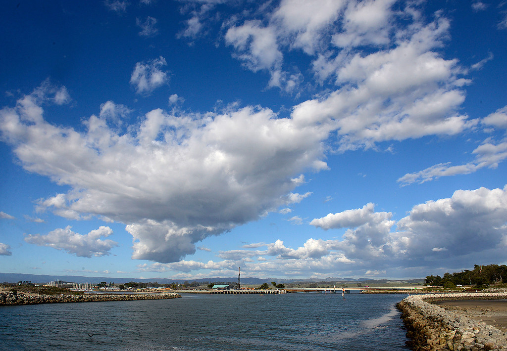 . Clouds over the Moss Landing Harbor on Monday, Feb. 12, 2018.  (Vern Fisher - Monterey Herald)