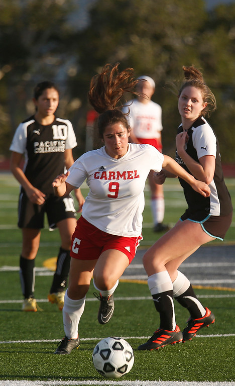 . Carmel\'s Serena Valdez Clemek moves the ball upfield against PCS during girls soccer at Carmel High School on Wednesday January 31, 2018. (David Royal/Herald Correspondent)
