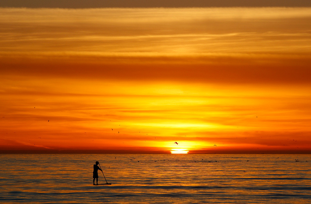. Sunset at Seacliff State Beach in Aptos on Tuesday, Jan. 30, 2018.  (Vern Fisher - Monterey Herald)