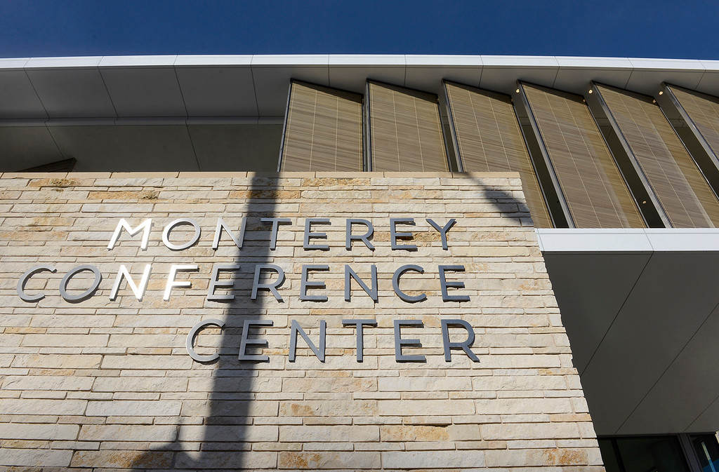 . People attend the grand opening ribbon cutting of the Monterey Conference Center on Wednesday, Jan. 31, 2018.  (Vern Fisher - Monterey Herald)