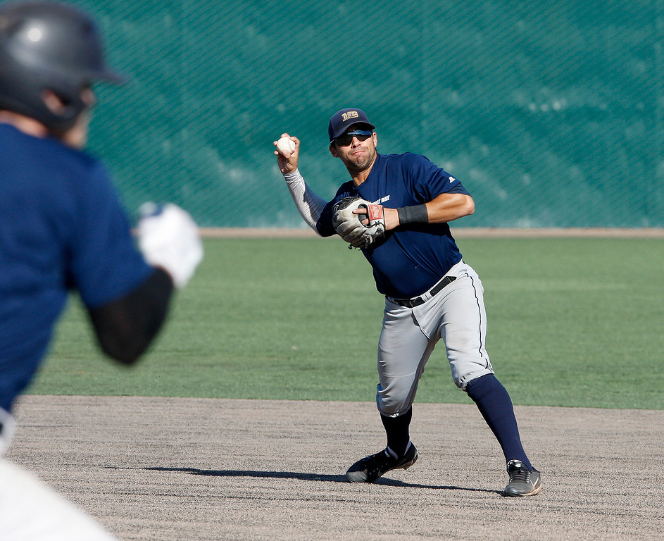 . CSU Monterey Bay baseball player Myles Hager at practice on Friday, Jan. 26, 2018.  (Vern Fisher - Monterey Herald)