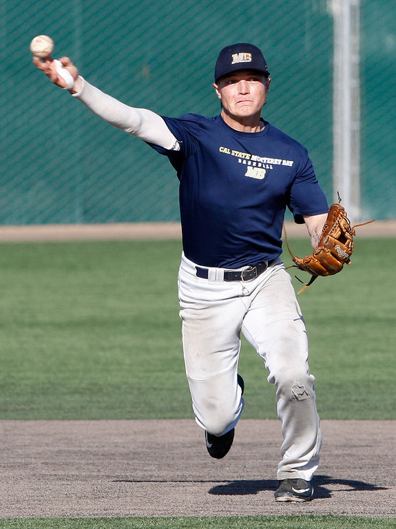 . CSU Monterey Bay baseball player Kyle Czaplak at practice on Friday, Jan. 26, 2018.  (Vern Fisher - Monterey Herald)