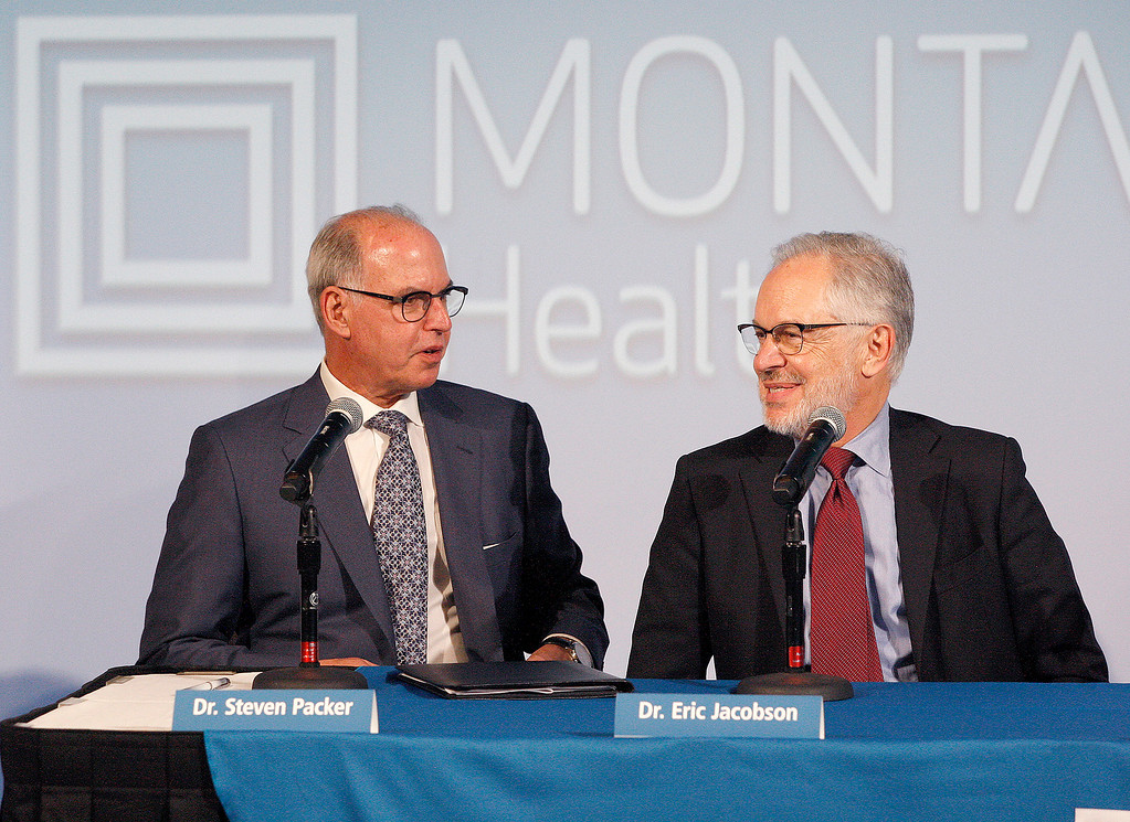 . Steven Packer, MD, President/CEO, Montage Health with Dr. Eric Jacobson, medical director  announced a $105.8 million donation to Montage Health Foundation from Roberta �Bertie� Bialek Elliott, younger sister of Warren Buffett at a press conference in Monterey on Tuesday, Jan. 30, 2018.  The gift will be devoted exclusively to creating an innovative approach to child and adolescent behavioral health. Elliott chose the name Ohana � Hawaiian for �family�.  (Vern Fisher - Monterey Herald)