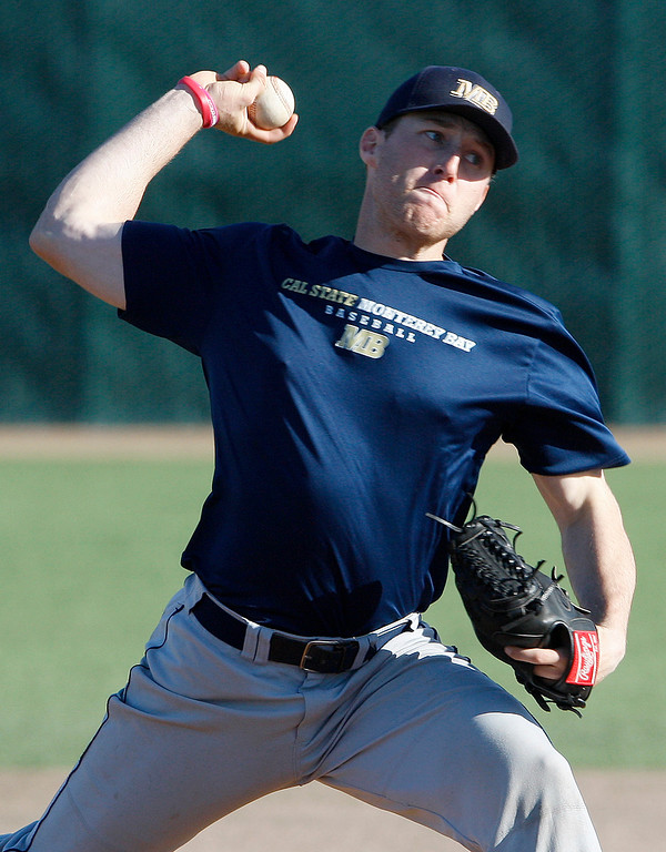 . CSU Monterey Bay baseball player Connor Fabing at practice on Friday, Jan. 26, 2018.  (Vern Fisher - Monterey Herald)