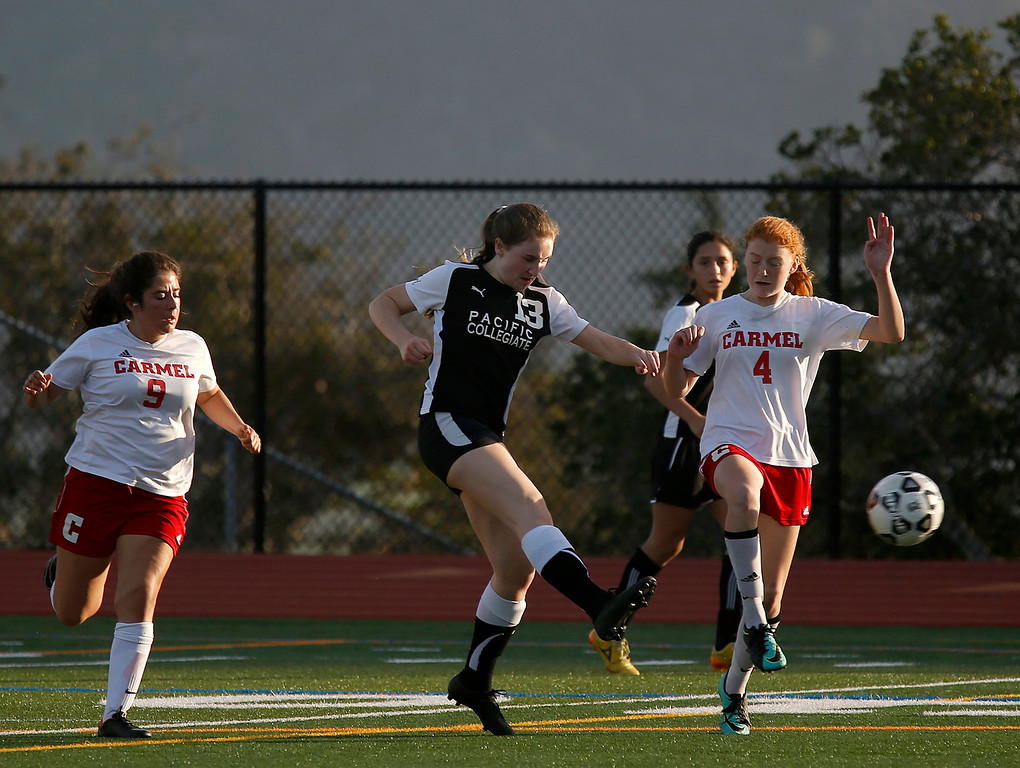 . PCS\' Kassandra Hayes moves the ball upfield during girls soccer at Carmel High School on Wednesday January 31, 2018. (David Royal/Herald Correspondent)