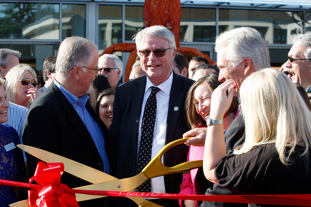 . Hans Uslar, acting city manager for Monterey at the grand opening ribbon cutting of the Monterey Conference Center on Wednesday, Jan. 31, 2018.  (Vern Fisher - Monterey Herald)