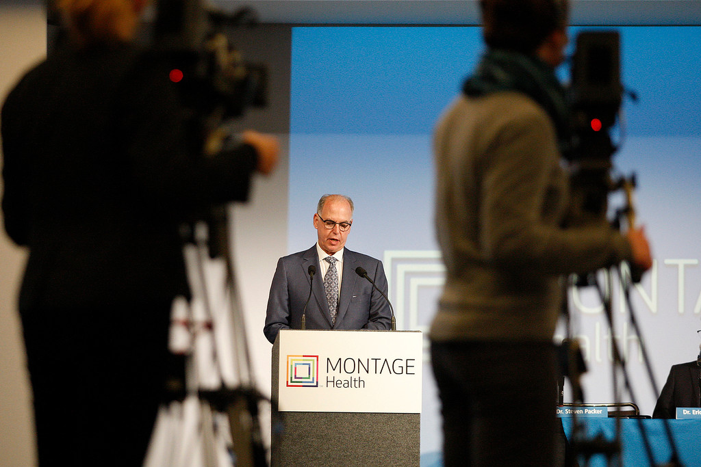 . Steven Packer, MD, President/CEO, Montage Health Foundation announces a $105.8 million donation to Montage Health Foundation from Roberta �Bertie� Bialek Elliott, younger sister of Warren Buffett at a press conference in Monterey on Tuesday, Jan. 30, 2018.  The gift will be devoted exclusively to creating an innovative approach to child and adolescent behavioral health. Elliott chose the name Ohana � Hawaiian for �family�.  (Vern Fisher - Monterey Herald)