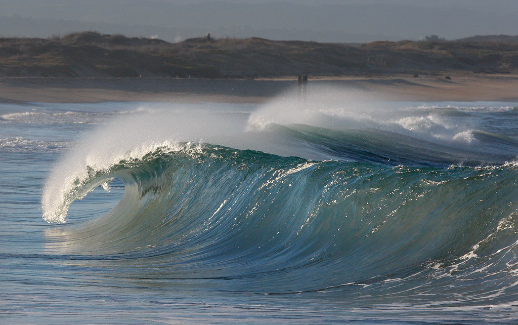 . Waves break on the south side of the Moss Landing Harbor on Friday, Jan. 26, 2018.  (Vern Fisher - Monterey Herald)