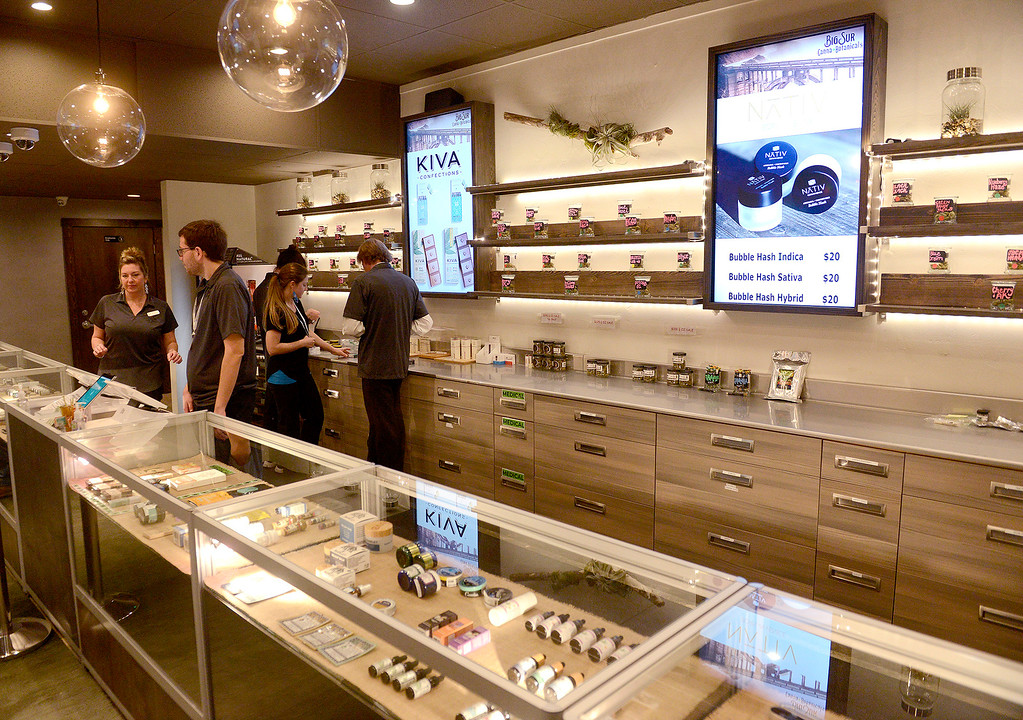 . The first day of recreational sales for the Big Sur Canna Botanicals store in the Carmel Rancho Center in Carmel on Friday, Jan. 5, 2018.  (Vern Fisher - Monterey Herald)