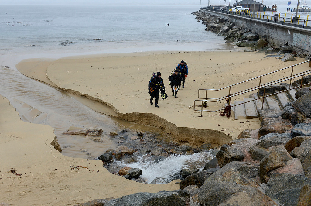 . Storm runoff at San Carlos Beach Park in Monterey on Monday, Jan. 8, 2018.  (Vern Fisher - Monterey Herald)