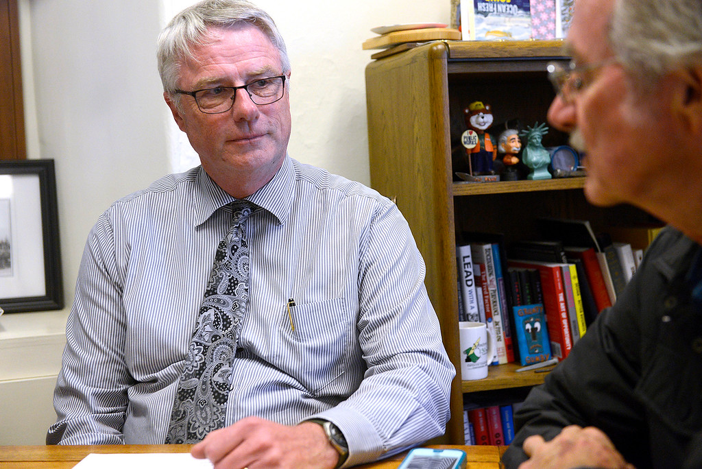 . Acting Monterey city manager Hans Uslar with Monterey mayor Clyde Roberson in his office on Wednesday, Jan. 10, 2018. (Vern Fisher - Monterey Herald)