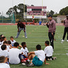 Miami Dolphins kicker Andrew Franks talks to campers