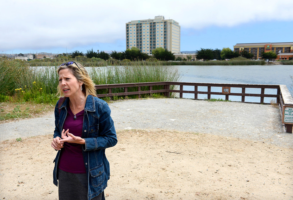 . Gloria Stearns, economic development manager with the city of Seaside at Roberts Lake in Seaside on Thursday, July 20, 2017.  The city of Seaside and Sustainable Seaside worked together to receive the Building Better Communities grant for a nature-based play area at Roberts Lake.  (Vern Fisher - Monterey Herald)