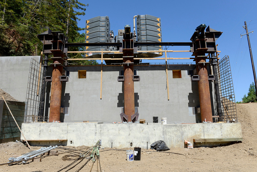 . The north anchorage at the Pfeiffer Canyon Bridge consturction site on Highway One in Big Sur on Wednesday, July 19, 2017.  (Vern Fisher - Monterey Herald)