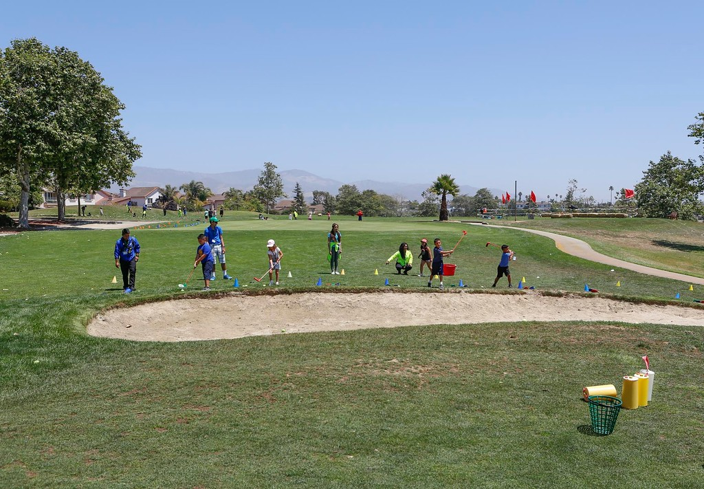 . Kid learn what it\'s like to drive a golf ball using tennis ball during The First Tee of Monterey County Summer Camp 2017 at Twin Creeks Golf Course on Monday, July 17, 2017 in Salinas, Calif. (Vernon McKnight/Herald Correspondent)