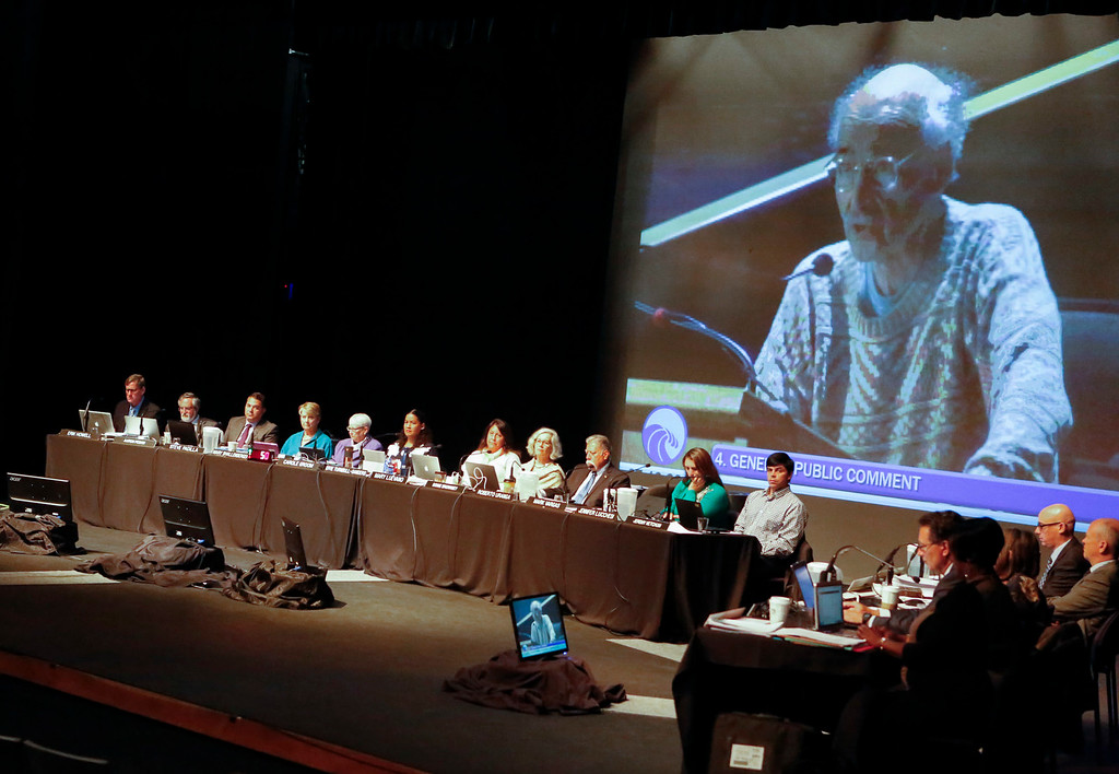 . The Coastal Commission listens to a supporter of the proposed settlement to remove the CEMAX sand mining plant in Marina in the World Theater at CSU Monterey Bay on Thursday, July 13, 2017 in Seaside, Calif. (Vernon McKnight/Herald Correspondent)
