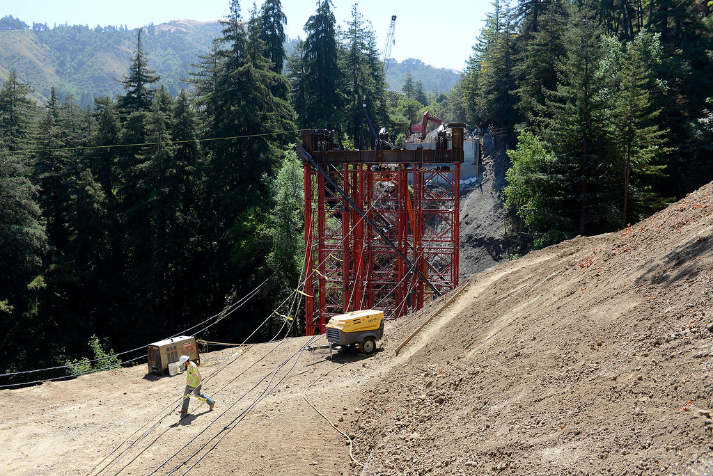 . Work is on schedule at the Pfeiffer Canyon Bridge consturction site on Highway One in Big Sur on Wednesday, July 19, 2017.  Cal Trans said they are on schedule for a mid to late September opening.  (Vern Fisher - Monterey Herald)