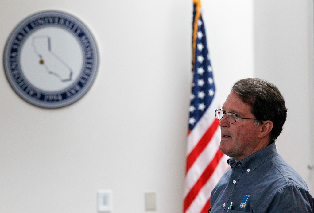 . Dane Lobb, Damage Prevention Awareness Specialist at PG&E, delivers a presentation on electrical and gas lines during a California State University�s Emergency Managers Conference at the Alumni Visitors Center at CSU Monterey Bay on Friday, July 14, 2017 in Seaside, Calif. (Vernon McKnight/Herald Correspondent)