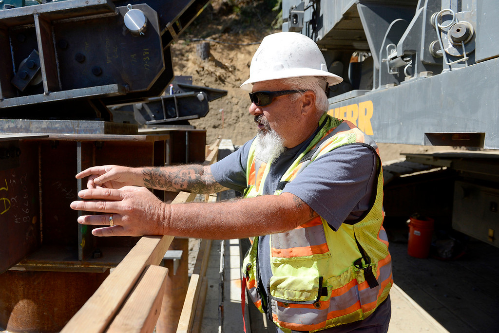 . Bob Riggins, assistant structure representative for MNS Engineers at the Pfeiffer Canyon Bridge consturction site on Highway One in Big Sur on Wednesday, July 19, 2017.  (Vern Fisher - Monterey Herald)