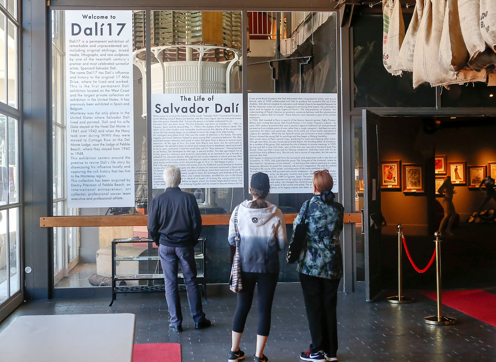 . Visitors read about the life of Salvador Dahlí before viewing the exhibit during Dalí17\'s one year anniversary celebration of the exhibit on display inside the Stanton Center at the Custom House Plaza on Saturday, July 15, 2017 in Monterey, Calif. (Vernon McKnight/Herald Correspondent)