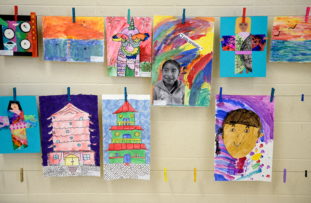 . Exmaples of the artwork by students at Martin Luther King School of the Arts in Seaside on Wednesday, July 26, 2017.  (Vern Fisher - Monterey Herald)