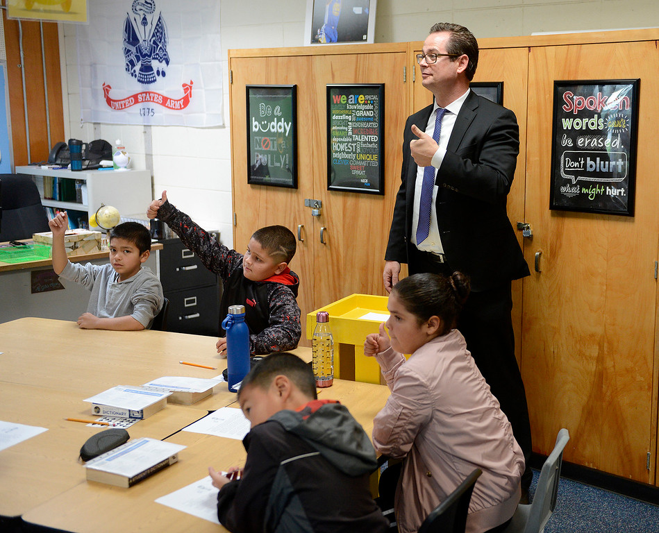 ". Monterey Peninsula Unified School District superintendent Daniel ""PK\"" Diffenbaugh visits Jacob Gile\'s fourth-grade class on the first day of school at Marina Vista Elementary School in Marina on Wednesday, Aug. 2, 2017.   (Vern Fisher - Monterey Herald)"