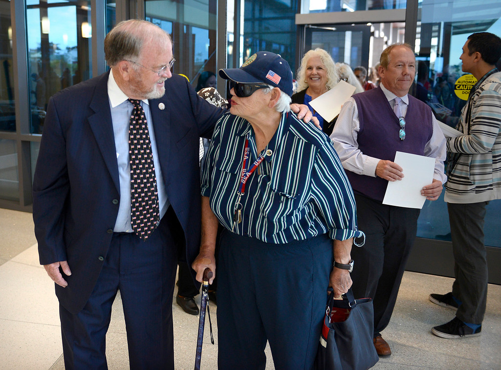. Former congressman Sam Farr talks with veteran Hazel Tompkins during the tour of the Major General William H. Gourley VA-DOD Outpatient Clinic in Marina on Thursday, Aug. 3, 2017.  (Vern Fisher - Monterey Herald)