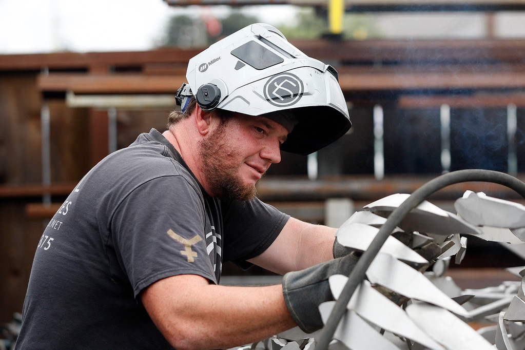 . John Dotto at Metal Specialties in Monterey on Thursday, Aug. 3, 2017 continuing work on the sculpture that will be installed at the new Conference Center plaza fountain in Monterey.  (Vern Fisher - Monterey Herald)