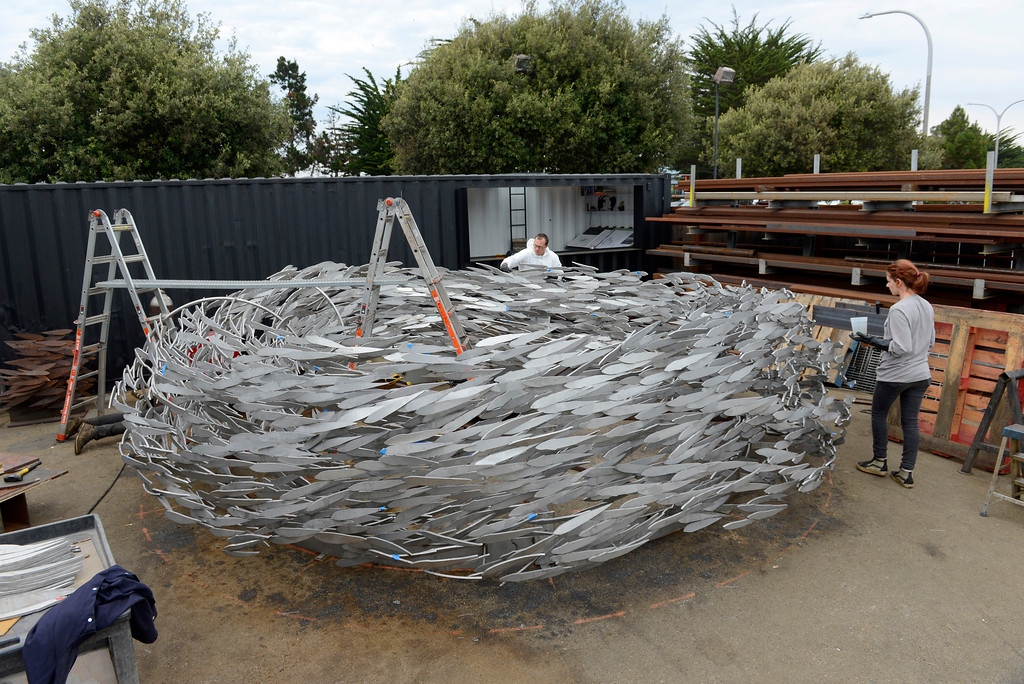 . Work continues at Metal Specialties in Monterey on Thursday, Aug. 3, 2017 on the sculpture that will be installed at the new Conference Center plaza fountain in Monterey.  (Vern Fisher - Monterey Herald)