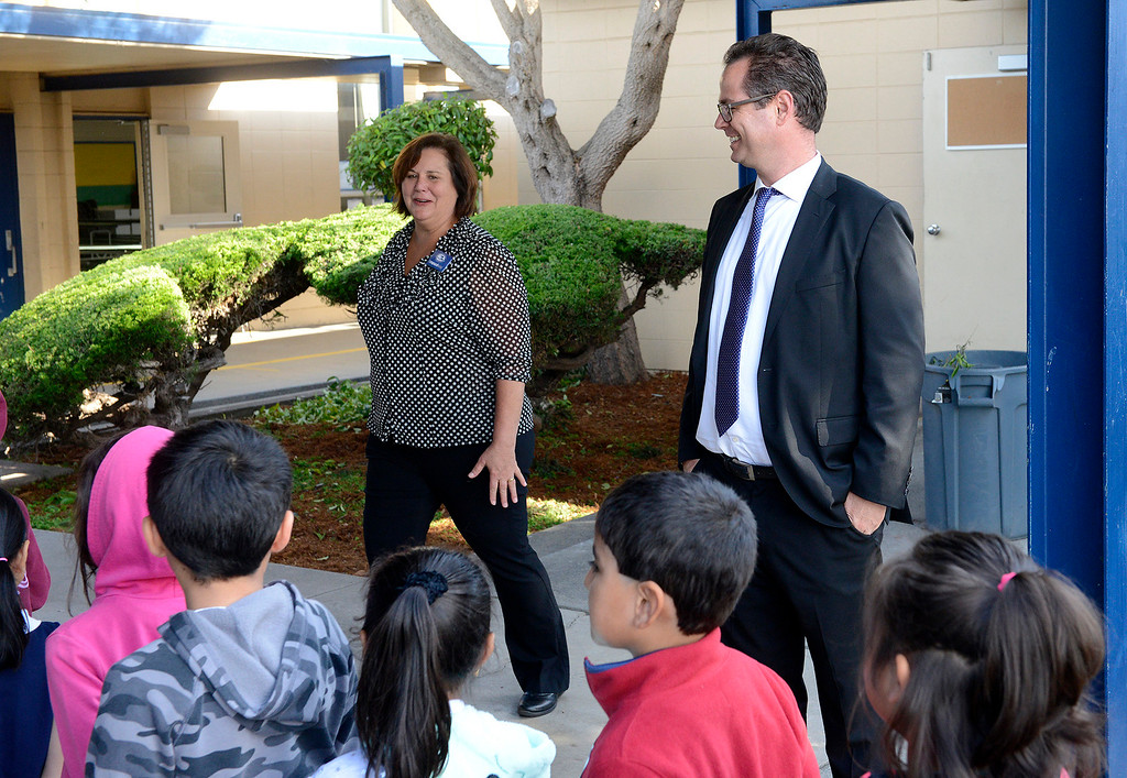 ". Marina Vista Elementary School principal Cristy Campanaro with Monterey Peninsula Unified School District superintendent Daniel ""PK\"" Diffenbaugh as they greet students on the first day of school at Marina Vista Elementary School in Marina on Wednesday, Aug. 2, 2017.   (Vern Fisher - Monterey Herald)"
