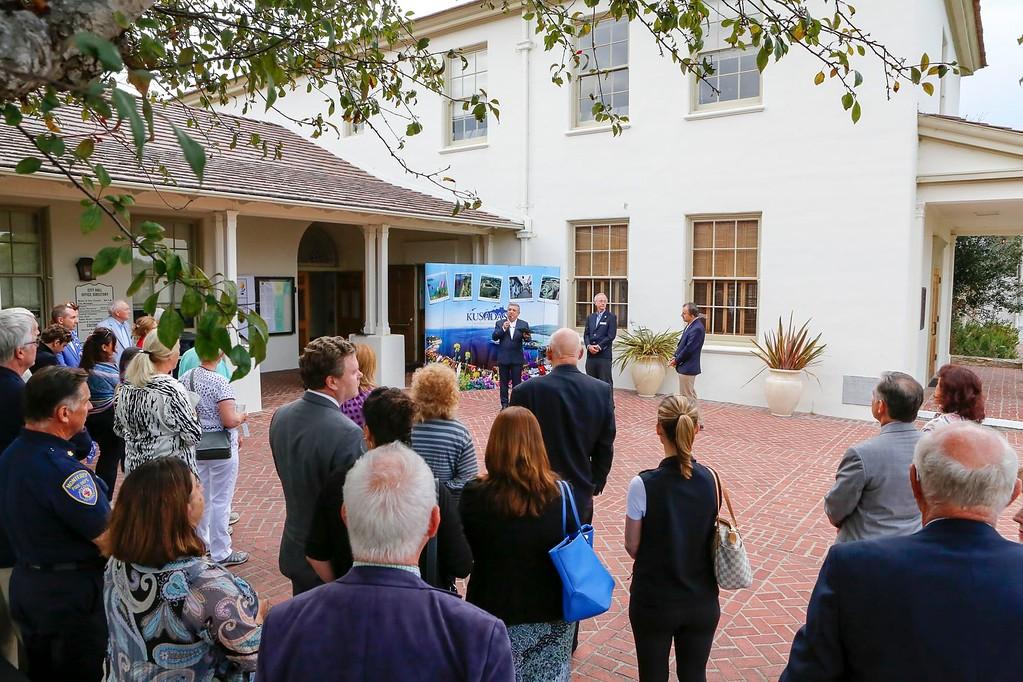 . Ku�adası Mayor �zer KAYALI speaks during the Monterey- Ku�adası sister city reception at Few Memorial Hall on Thursday, August 3, 2017 in Monterey, Calif. (Vernon McKnight/Herald Correspondent)
