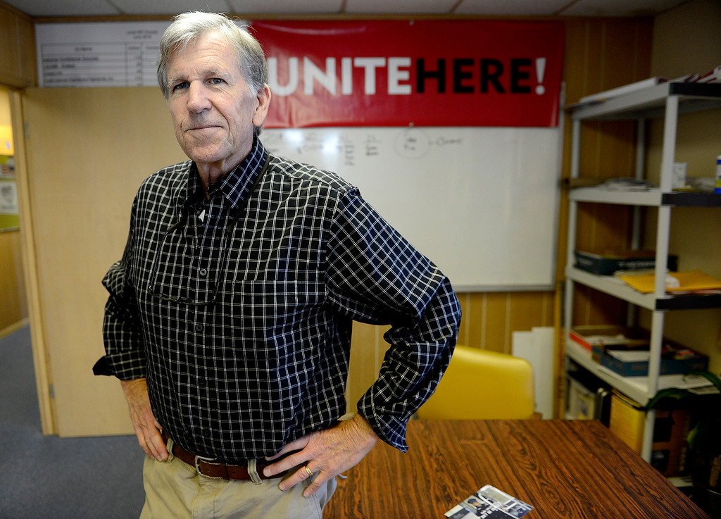 . Leonard O\'Neill in his Pacific Grove office on Tuesday, Aug. 1, 2017.  O\'Neill moves on after 40 years leading the Hotel Workers Union. He was recently honored by the California Legislature for his work.  (Vern Fisher - Monterey Herald)