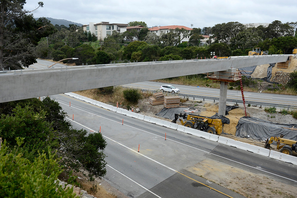 . The bridge over the Monterey Salinas Highway in Monterey to support the Cal Am water pipeline was completed on Wednesday, June 6, 2018.   (Vern Fisher - Monterey Herald)