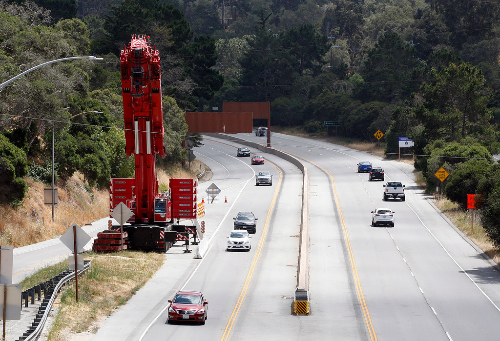 . Construction is the final stages for the Cal Am water pipeline over Highway 68 in Monterey on Tuesday, June 5, 2018.  (Vern Fisher - Monterey Herald)