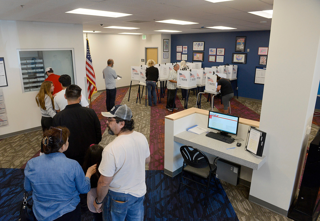 . People wait in line to vote at the new Monterey County Election Department office in Salinas on Tuesday, June 5, 2018.  (Vern Fisher - Monterey Herald)