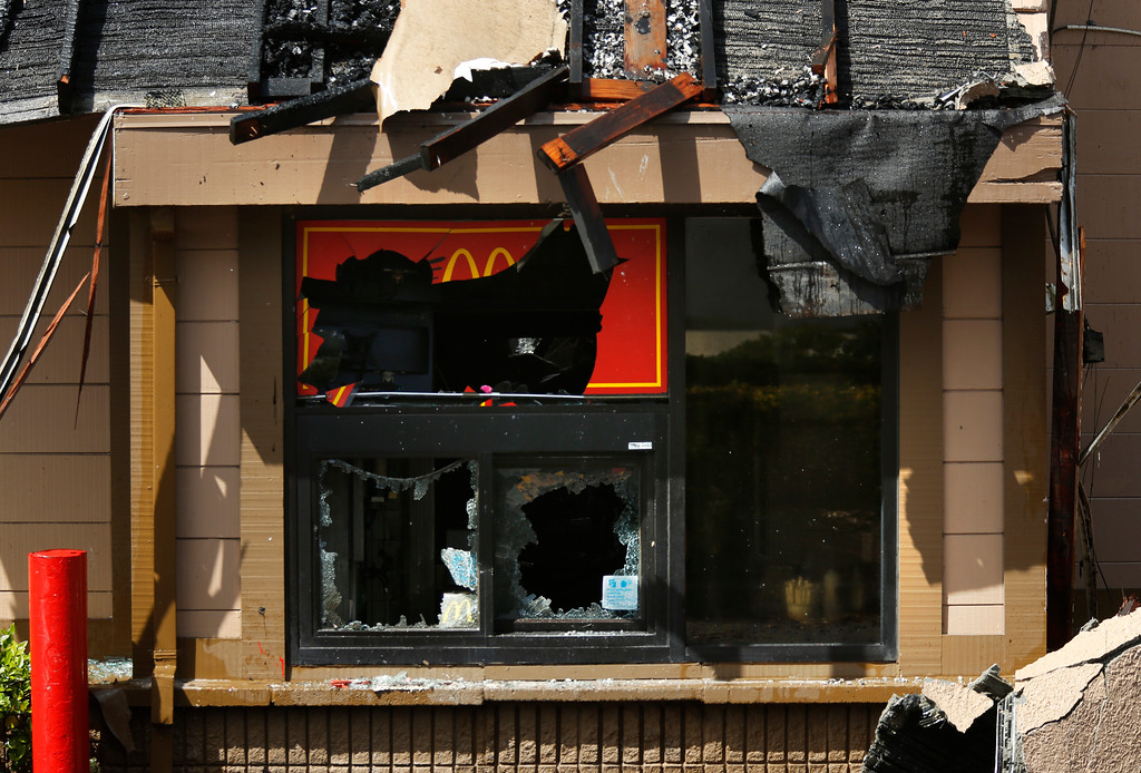 . A fire damaged drive-up window at the Macdonald\'s on Canyon Del Rey in Seaside on Tuesday June 5, 2018. (David Royal/ Herald Correspondent)